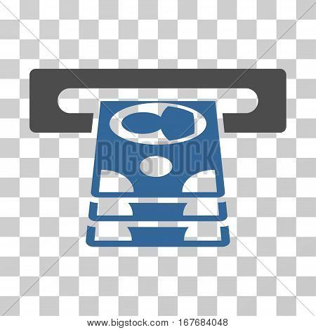 Cashpoint icon. Vector illustration style is flat iconic bicolor symbol cobalt and gray colors transparent background. Designed for web and software interfaces.
