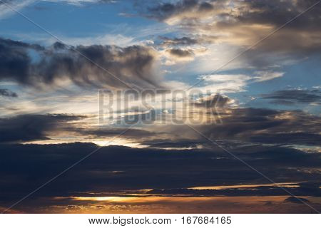 Dramatic Evening Sky With Dark Clouds