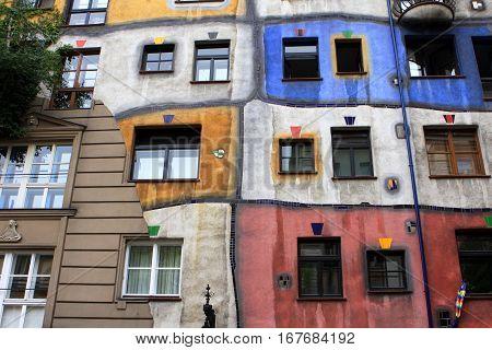 Hundertwasser house, Hundertwasserhaus,  designed by Austrian artist Friedensreich Hundertwasser with the architect Joseph Krawina, Vienna, Austria