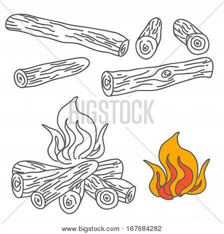 Set of Firewood and Campfire Illustration Vector illustration