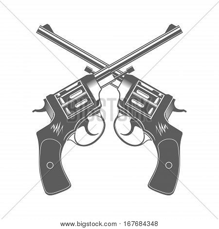 Crossed Guns Isolated on White Design Elements Vector Illustration
