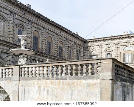 detail of palazzo pitti in florence , italy