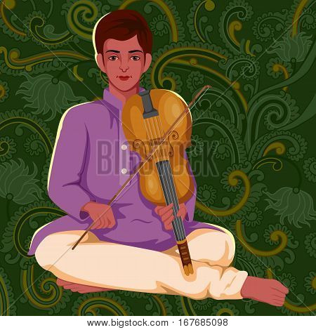 Vector design of artist playing Violin folk music of India on floral background