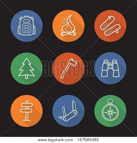 Camping flat linear long shadow icons set. Backpack, campfire, firewood, fir tree, axe, binoculars, wooden way direction, pocket knife, compass. Vector line symbols