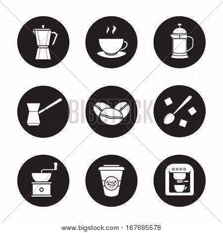 Coffee icons set. Espresso machine, classic coffee maker, steaming mug on plate, french press, turkish cezve, spoon with sugar cubes, hand mill. Vector white silhouettes illustrations in black circles