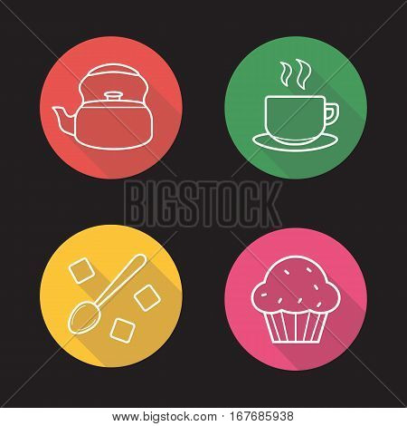 Tea flat linear long shadow icons set. Kettle, steaming cup on plate, sugar cubes with spoon, muffin. Vector line symbols