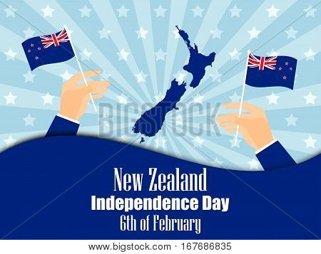 Hand holds a New Zealand flag independence day. Vector illustration