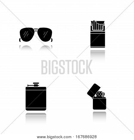 Men's accessories drop shadow black icons set. Alcohol hip flask, open cigarette pack, sunglasses and flip lighter. Isolated vector illustrations