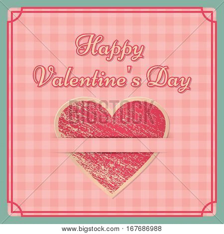 Vintage Valentine's Day background. Retro design on pink checkered backdrop. Country style. Vector graphic.