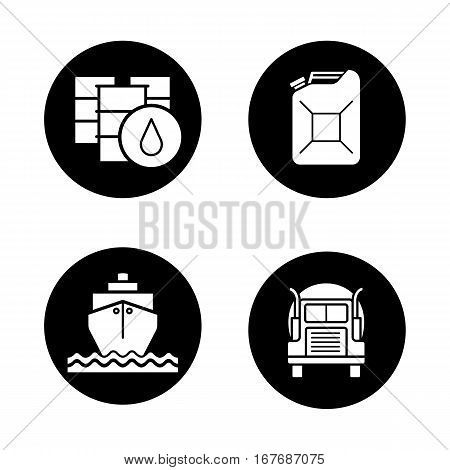 Petroleum industry icons set. Oil barrels and gasoline jerrycan, cargo ship and transportation tank truck. Vector white silhouettes illustrations in black circles