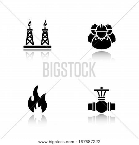 Gas industry drop shadow black icons set. Industrial workers, pipeline valve, flammable sign, gas platform. Isolated vector illustrations