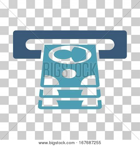 Cashpoint icon. Vector illustration style is flat iconic bicolor symbol cyan and blue colors transparent background. Designed for web and software interfaces.