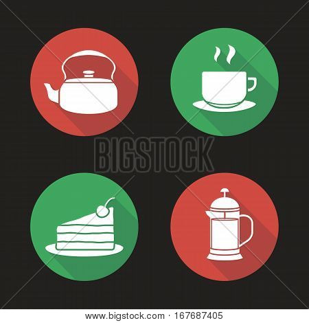 Tea and coffee flat design long shadow icons set. Kettle, steaming cup on plate, chocolate cake, french press. Vector symbols