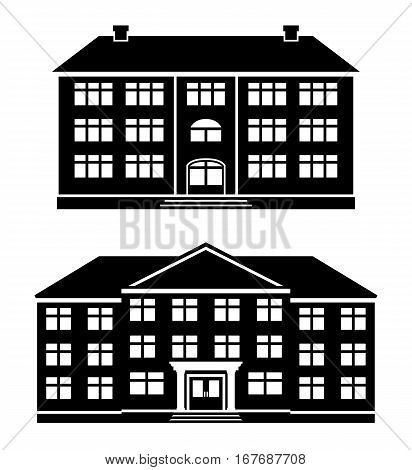 Icons school, office buildings, apartment house, condominium in flat style. Schoolhouses silhouettes on white background. Vector illustration.