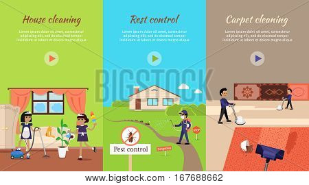 House cleaning vector video banner. Flat design. Maids with vacuum cleaner, whisk dust and sprayer working in apartment. Servants. Illustration with play button for cleaning companies web page design