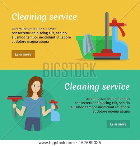 Set of cleaning service banners with cleaning equipment. Woman with brush and detergent. House cleaning service, professional office cleaning, home cleaning. Horizontal website template