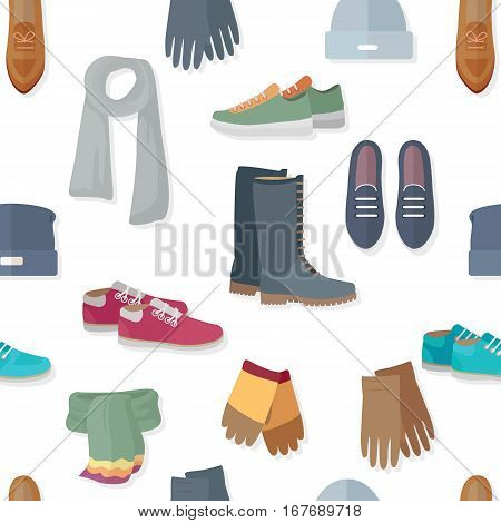 Seamless pattern with women accessories and shoes. Autumn winter collection elements. Stylish fashionable footwear from popular designers. Best world brands. For wallpaper design, posters, ads. Vector