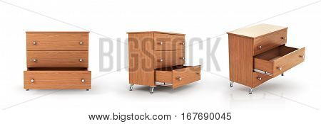Set of three cupboard in different positions with open drawer. 3d illustration