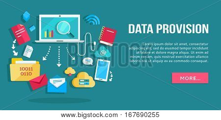 Data provision banner. Networking communication and data icons around laptop on blue background. Data protection, global storage service and online cloud storage, security and privacy, safety, backup