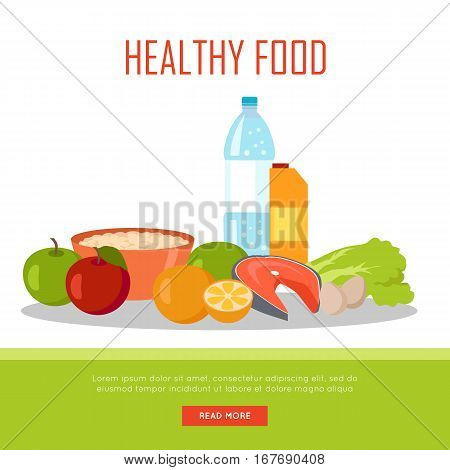 Healthy food banner isolated on white background. Organic natural food. Consumption of high quality nourishment food. Part of series of promotion healthy diet and good fit. Vector illustration