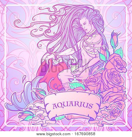 Zodiac sign Aquarius. Young man with long hair holding large amphora. Frame of roses. Water flowing out. Vintage art nouveau style concept art for horoscope or tattoo. Pastel goth palette