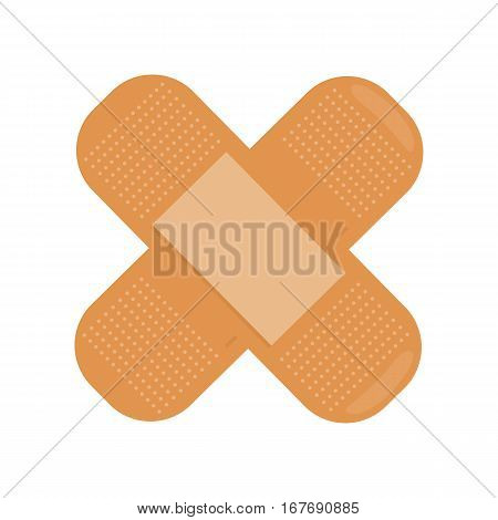 Crossed medical plaster isolated on white. Realistic looking adhesive bandage. Detailed dimensional breathable fabric. Health care concept. First medical aid. Injury protector. Vector illustration