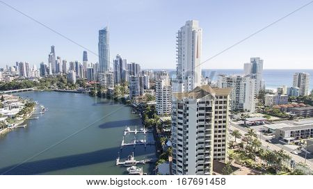 GOLD COAST, AUSTRALIA - JANUARY 24 2017: Aerial view of Surfers Paradise skyline at sunrise