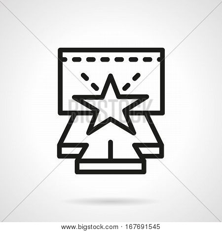 Symbol of stage or podium with star. Elements of concerts, fashion show. Entertainment event with popular persons. Black simple line design vector icon.
