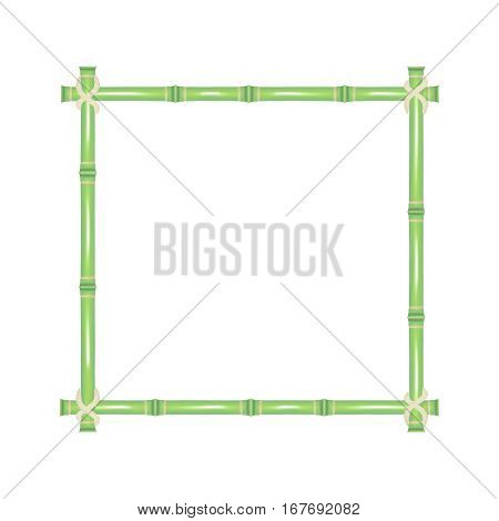 Wooden Frame of Green Bamboo Sticks Natural Asian Decoration for Spa Invitation, Banner or Eco Placard. Vector illustration