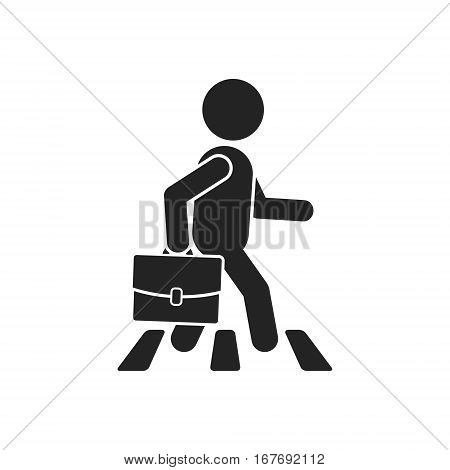 Businessman on crosswalk vector isolated simple illustration.