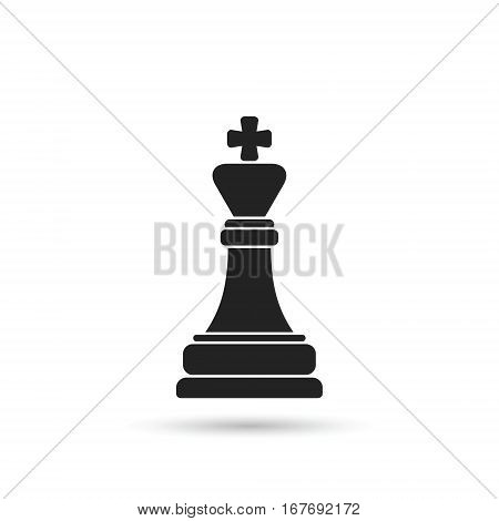 Chess king icon. Vector isolated black chess figure symbol.