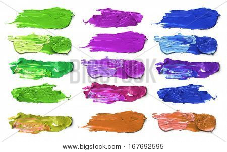 Collection of Abstract acrylic color brush strokes. Isolated on white.