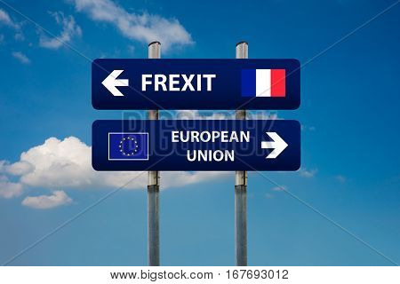 a concept of two road signs french elections (frexit)and european union