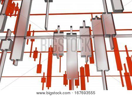 Glassy Forex Graphs 3D Concept Illustration. Forex Market Concept. poster