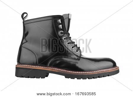 Men's Black Leather Shoes Isolated on White Background