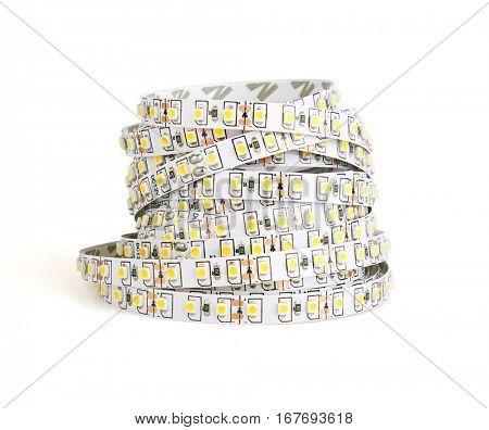 Diode strip. Led lights tape isolated on white