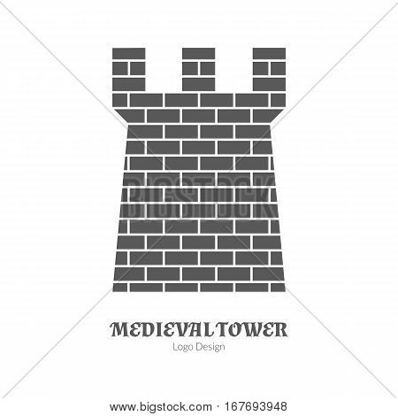 Medieval tower, fortification. Single logo in modern black simple style isolated on white background. Medieval theme silhouette symbol. Simple medieval pictogram logotype template. Vector illustration