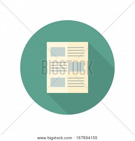 Strategic management document web button isolated on white. Analyzes data concept in flat design. Sheet of paper, blank. Statistics, strategic report. Development Planning. Vector design illustration.