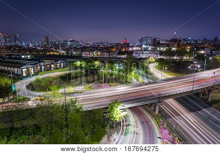 Traffic and highway of Seoul city South Korea.