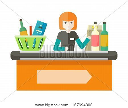 Cashier behind the store counter and cash register. Flat design. Smiling woman cashier sits behind the cash register and ringing drinks. Selling of alcohol and alcoholic beverages in the supermarket.