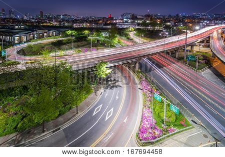 Traffic Of Seoul City, South Korea.
