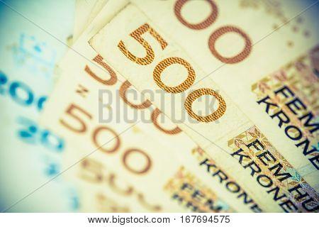 Norwegian Krones. Five Hundred Krones Bills Closeup Photo.