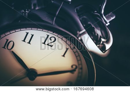 On Time Clock Concept. Ten Past Ten Time. Classic Clock Closeup Photo.