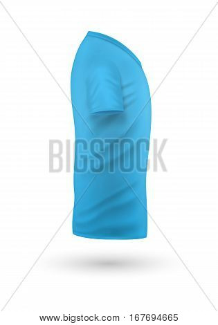 T-shirt template, side view. Blue color. Realistic vector illustration in flat style. Sport clothing. Casual men wear. Cotton unisex polo outfit. Fashionable apparel.