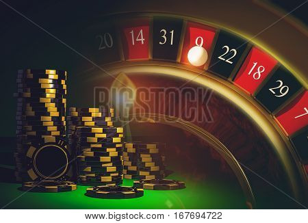 Roulette Casino Games Concept with Black and Yellow Casino Chips. Casino Game.