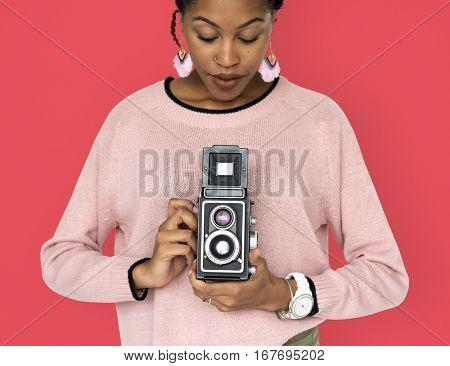 African Woman Camera Photographing Classic Retro Studio Portrait