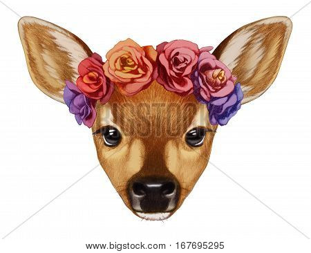 Portrait of Fawn with floral head wreath.  Hand-drawn illustration, digitally colored.
