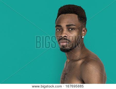 Men Portrait Serious Thoughtful Studio