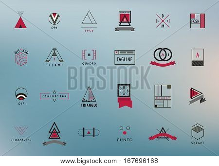 Vector set of modern and minimal outline logos, geometric - square, circle, triangle. Minimalism styled hipster icons for multiple use. Creative ideas for brand identity work