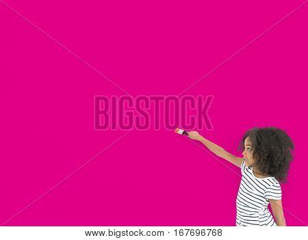 Little Girl Painting Paintbrush Layer